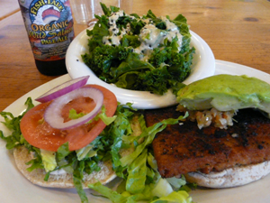 Bali Bliss - Indonesian styled tempeh, sauted and grilled, lettuce, tomato, red onion, chipotle ranch. Add avocado, portobello mushroom or chili for $1.50. Blackened upon request.